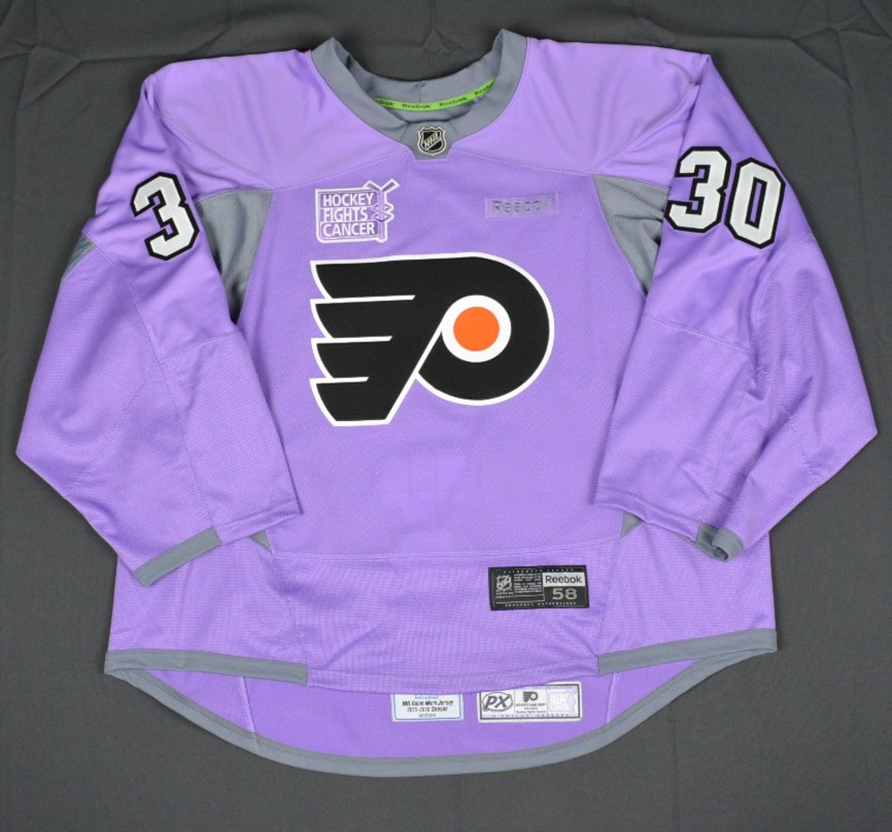 Michal Neuvirth Philadelphia Flyers Hockey Fights Cancer Warmup Issued Autographed Jersey Nhl Auctions