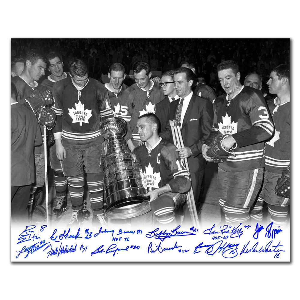 1967 Toronto Maple Leafs Stanley Cup B&W Celebration Autographed 16x20 Signed by 12