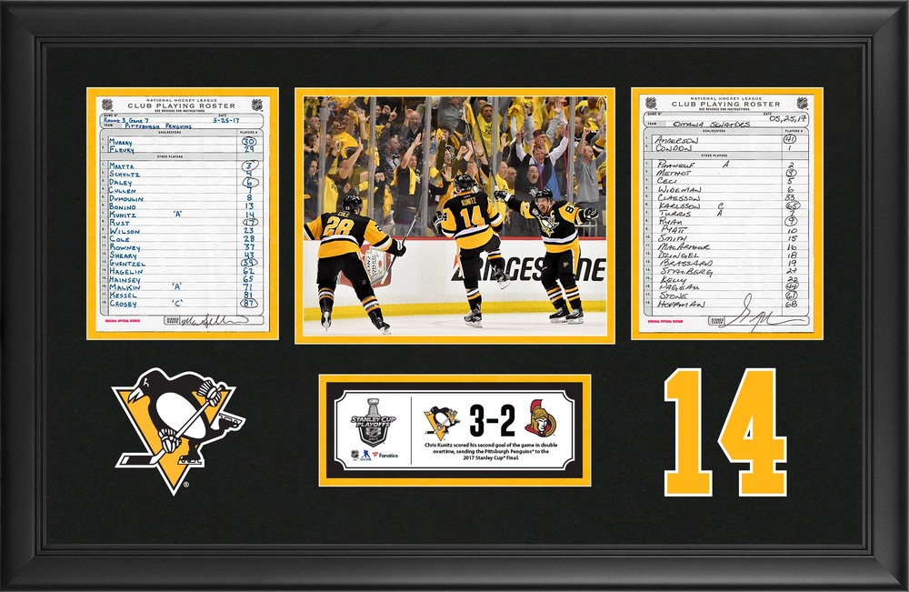 Pittburgh Penguins Framed Original Line-Up Cards From May 25, 2017 vs. Ottawa Senators - Chris Kunitz Scores Game-Winning Goal in Double Overtime