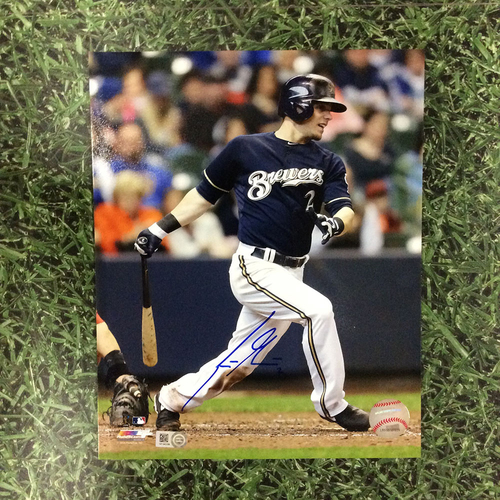 "Photo of Scooter Gennett Autographed 8"" x 10"" Photo - Navy Jersey"