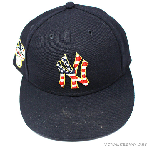 Photo of Carlos Mendoza New York Yankees 2018 Home Game Used #64 4th of July Day Hat (Size 7 1/4) (7/4/2018)