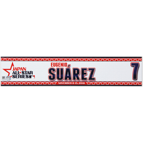 Photo of 2018 Japan Series Game-Used Locker Tag - Eugenio Suarez -  Reds