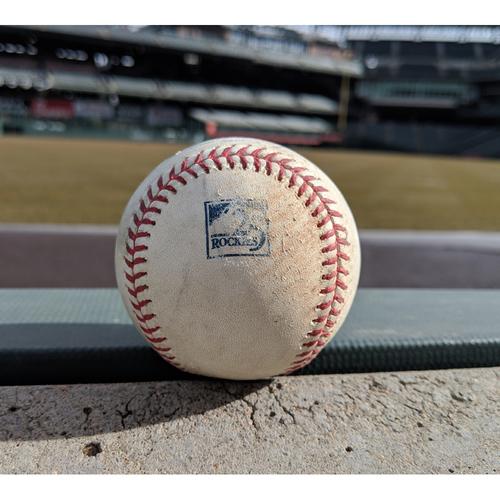 Colorado Rockies Game-Used Baseball - Taillon v. Dahl - Single to Polanco - Taillon v. McMahon - Single to Dickerson - August 7, 2018