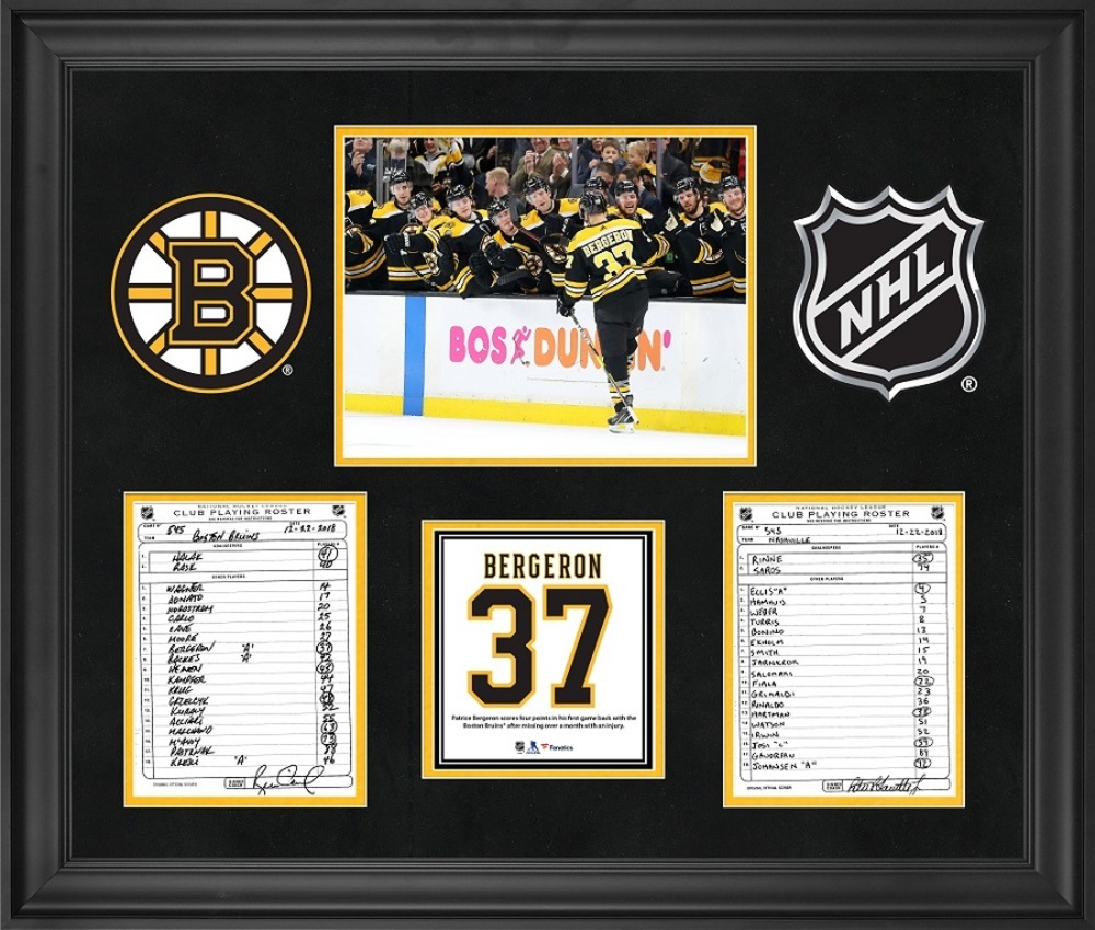 Boston Bruins Framed Original Lineup Cards From December
