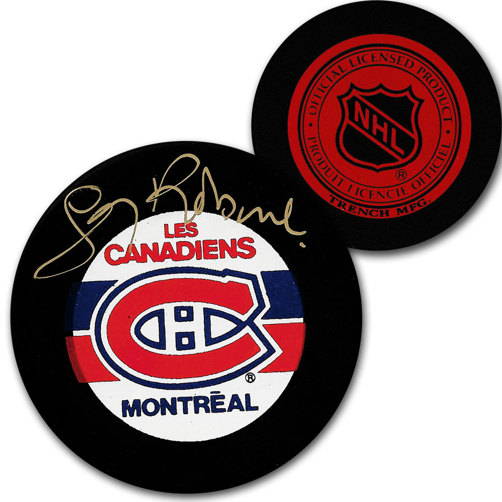 Larry Robinson Autographed Montreal Canadiens Vintage Trench Puck
