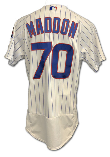 Photo of Joe Maddon Team-Issued Jersey -- Mother's Day 2019 -- Size 44 -- Brewers vs. Cubs -- 5/12/19