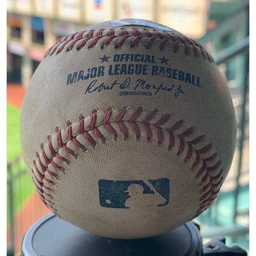 Photo of Game-Used Baseball Astros vs. Mariners 9-5-19: Austin Adams to Michael Brantley (Single)