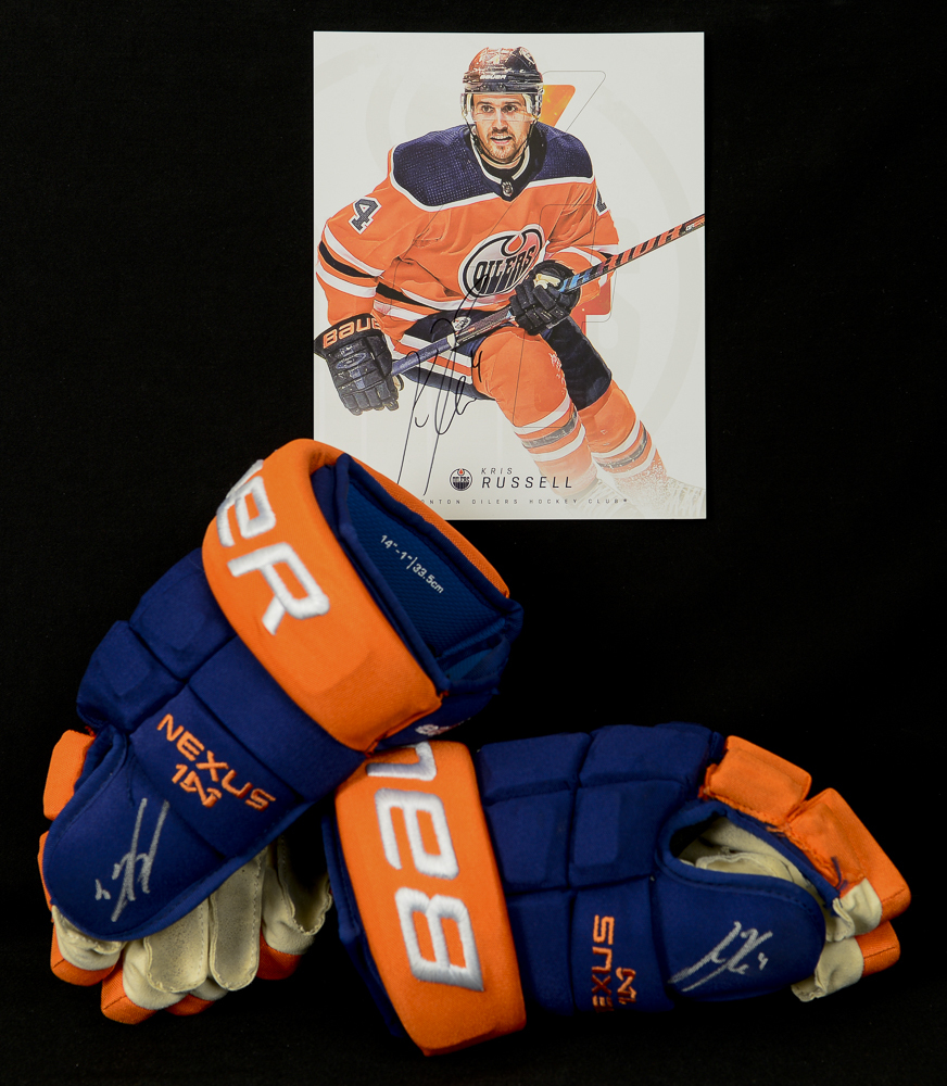 Kris Russell #4 - Autographed 2018-19 Edmonton Oilers Game-Worn Bauer Nexus 1N Hockey Gloves - Includes Autographed Oversized Player Card!