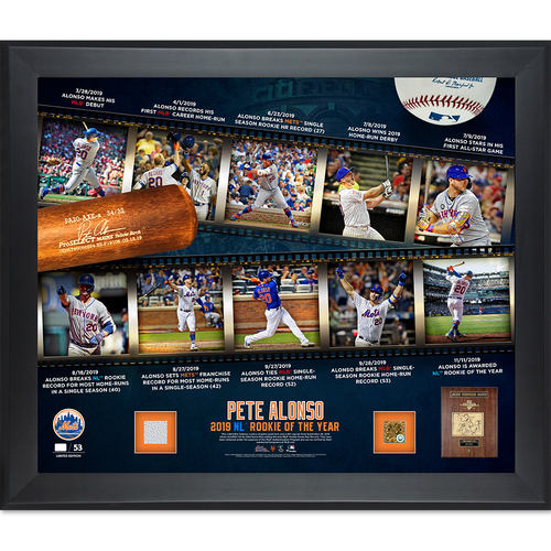 Photo of Pete Alonso - Limited Edition 2019 NL Rookie of the Year Game Used Plaque