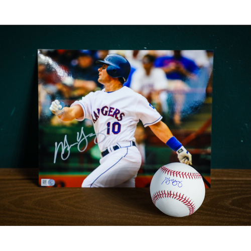 Photo of Michael Young Autographed Baseball and 8x10 Photo