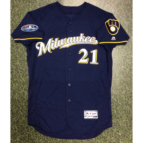 Photo of Travis Shaw 2018 Game-Used Postseason Jersey - NLCS Game 3