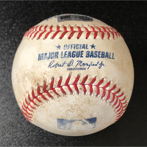 Photo of Game-Used Baseball - 2020 NLCS - Los Angeles Dodgers vs. Atlanta Braves - Game 4 - Pitcher: Clayton Kershaw, Batters: Freddie Freeman (RBI Double), Marcell Ozuna (Foul) - Bot 6