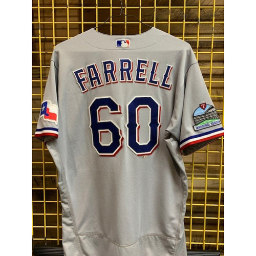 Photo of Luke Farrell Team-Issued 2020 Grey Jersey With Globe Life Field Inaugural Season Patch