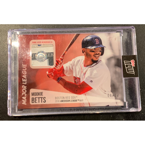 Photo of Mookie Betts Topps Now Major League Material Game Used Jersey Card #4/10