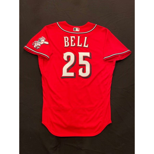Photo of David Bell -- 2021 Los Rojos Jersey -- Game Used from Sept 24 -- Size: 44