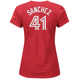 Toronto Blue Jays Women's Aaron Sanchez Player T-Shirt Red by Majestic
