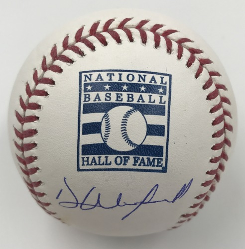 Photo of Dave Winfield Autographed Hall of Fame Logo Baseball