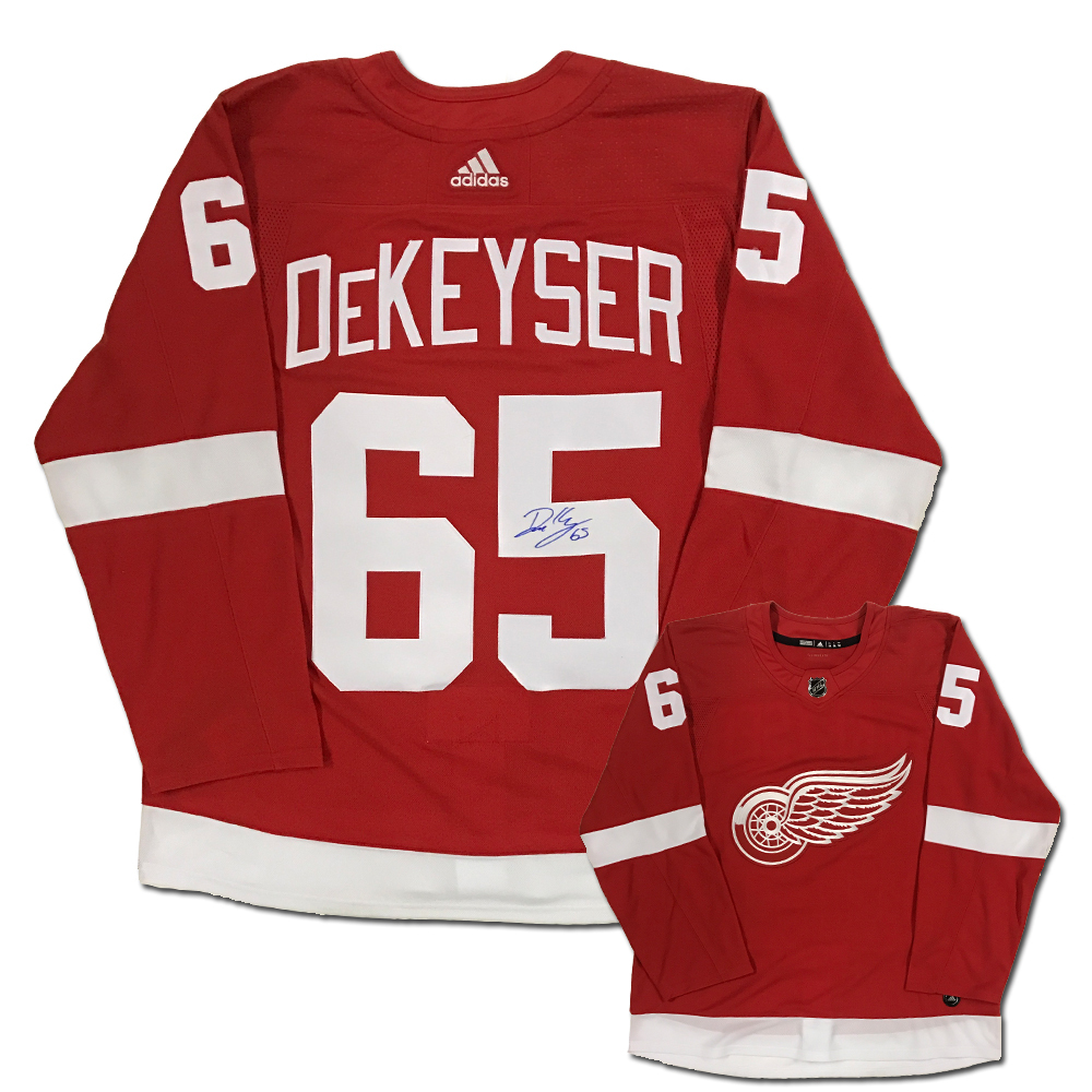 DANNY DEKEYSER Signed Detroit Red Wings Red Adidas PRO Jersey