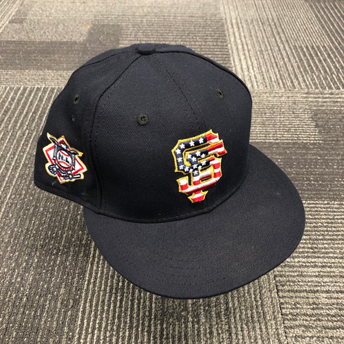 Photo of 2018 Game-Used Stars & Stripes 4th of July Cap worn by #22 Andrew McCutchen on 7/4 @ Colorado Rockies - Size 7 3/8