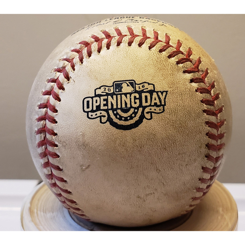 Photo of 2016 Opening Day - Colorado Rockies at Arizona Diamondbacks: Game-Used Baseball - Batter: Carlos Gonzalez, Pitcher: Randall Delgado - Top of 7, Pitch in Dirt - 4/4/16