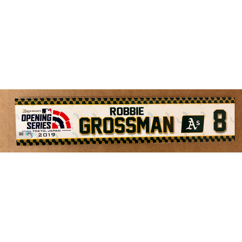 Photo of 2019 Japan Opening Day Series - Game Used Locker Tag - Robbie Grossman -  Oakland Athletics