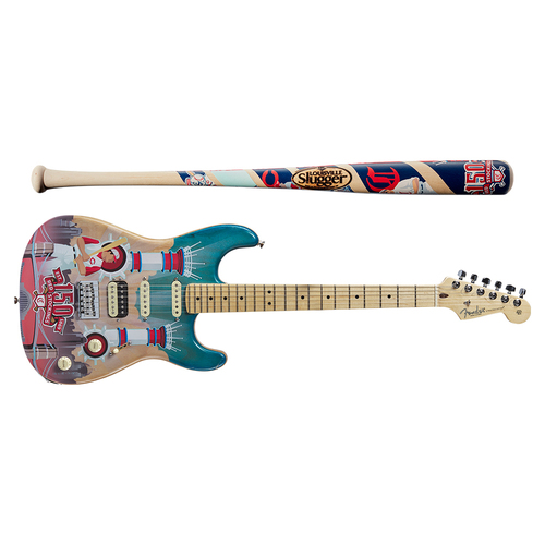 Photo of One-of-a-kind Artist-Painted Reds Louisville Slugger Bat and Fender Stratocaster Guitar