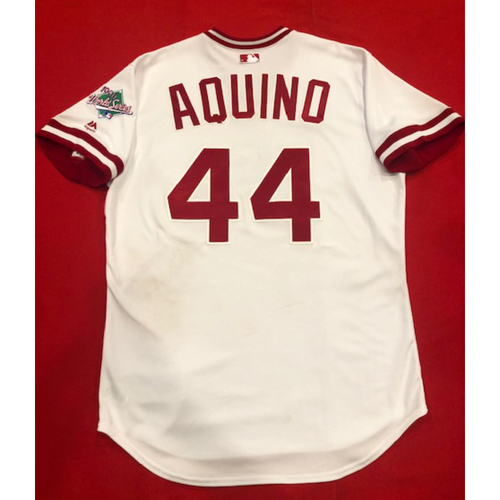 Photo of Aristides Aquino -- Game-Used 1990 Throwback Jersey (Starting RF) -- Cardinals vs. Reds on Aug. 18, 2019 -- Jersey Size 46