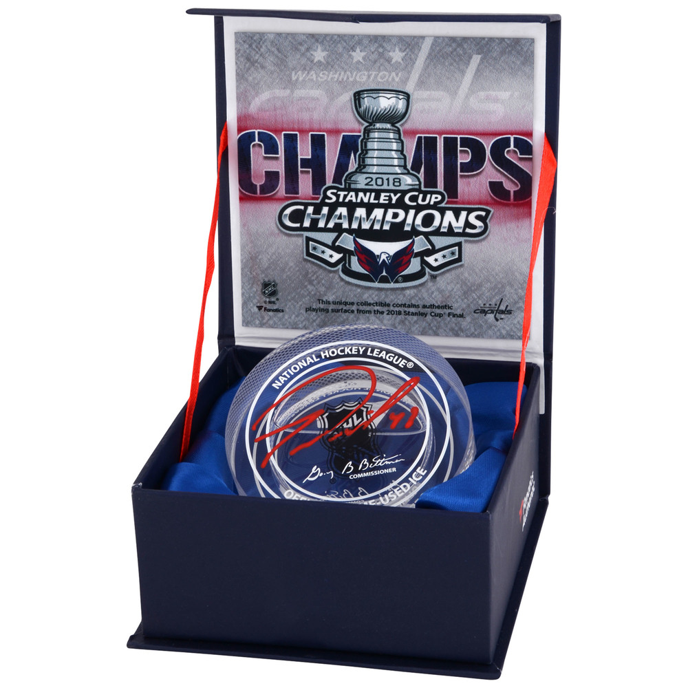Tom WIlson Autographed 2018 Stanley Cup Champions Crystal Puck - Filled With Ice From The 2018 Stanley Cup Final