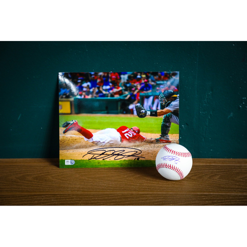 Photo of Rougned Odor Autographed Baseball and 8x10 Photo