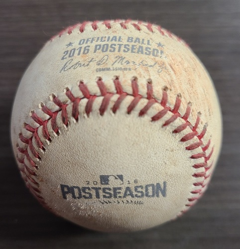 Photo of Authenticated Game Used Postseason Baseball: Pitch in the Dirt by Cody Allen against Troy Tulowitzki (Oct 17, 2016 vs CLE: ALCS Game 3). Bottom 8.