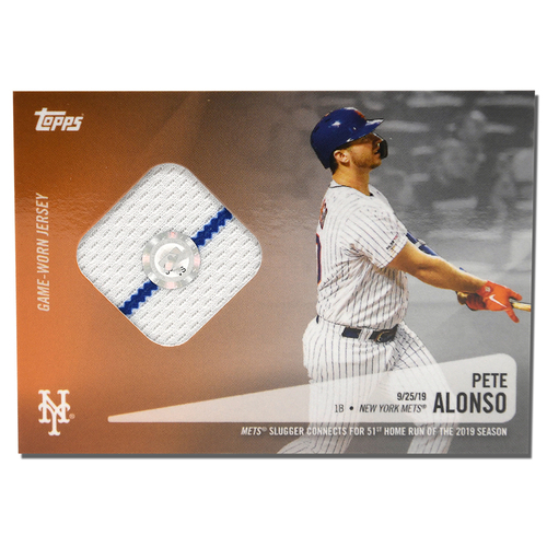 Photo of Pete Alonso #20 - Topps Card - Features Authenticated Game Used Jersey from 2019 Rookie of the Year Campaign - Alonso Hits 51st HR on 9/25/19