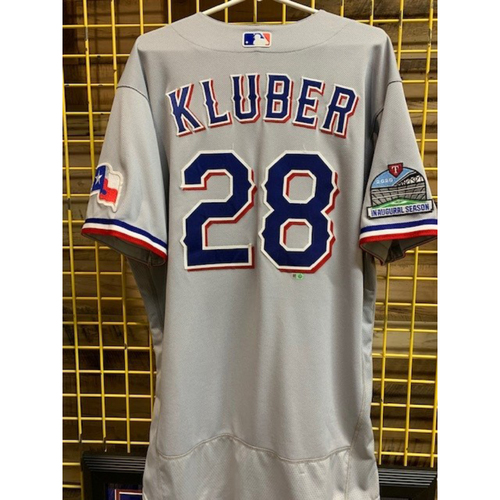 Photo of Corey Kluber Team-Issued 2020 Grey Jersey With Globe Life Field Inaugural Season Patch