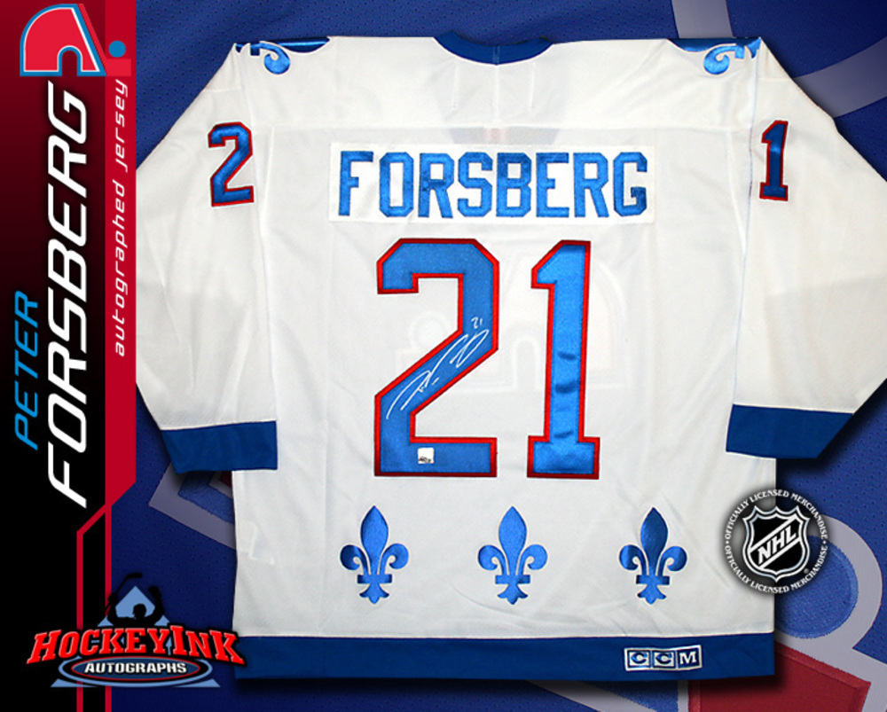 PETER FORSBERG Signed CCM White Jersey - Quebec Nordiques