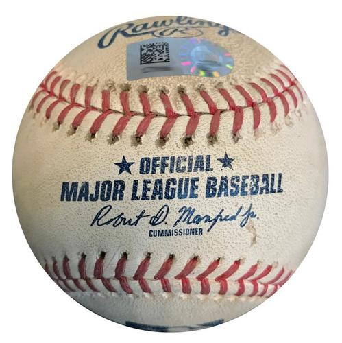Photo of Game-Used Baseball from Pirates vs. Tigers on 4/25/18 (Game 1) - Jordan Zimmerman Strikes Out Corey Dickerson