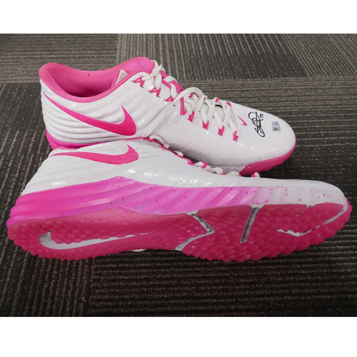 Photo of San Francisco Giants - Player-Collected Autographed Workout Shoes - George Kontos - Mother's Day Pink Nikes (pair) - Size 12