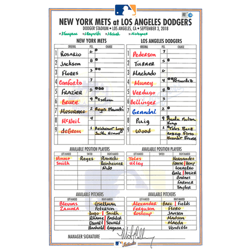 Photo of Game Used Lineup Card - deGrom 6 IP, 6 K's, Goes 2-2, Nimmo Hits 16th HR; Mets Win 4-2 - Mets vs. Dodgers - 9/3/18