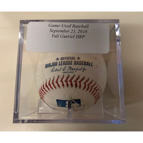 Photo of Game-Used Baseball: Yulieski Gurriel Hit by Pitch