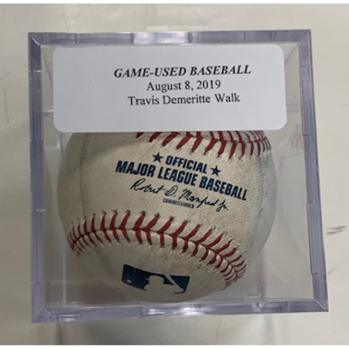 Photo of Game-Used Baseball: Travis Demeritte Walked by Richard Lovelady
