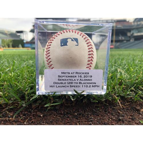 Photo of Colorado Rockies Game-Used Baseball - Pitcher: Antonio Senzatela, Batter: Pete Alonso (Double to Charlie Blackmon - 29) - September 16, 2019 vs New York Mets