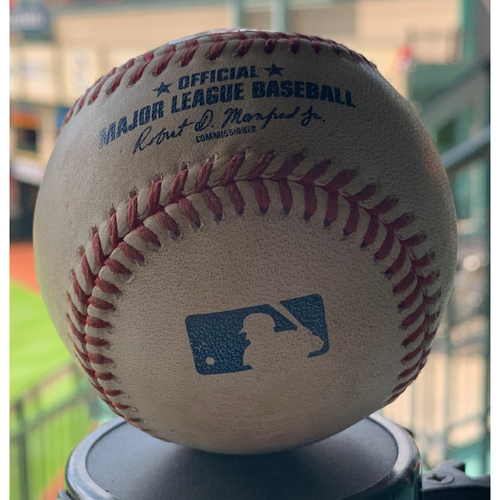 Photo of Game-Used Baseball Astros vs. A's 9-10-19: Chris Devenski to Marcus Semien (Double)