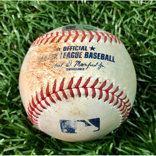 Game Used Baseball: Yandy Diaz single off Ryan Brasier - August 4, 2020 v BOS