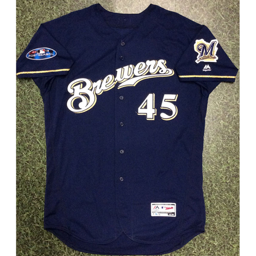 Photo of Jhoulys Chacin 2018 Game-Used Postseason Jersey - NLDS Game 2