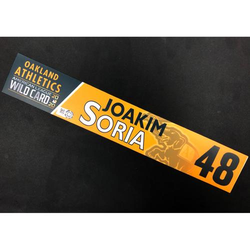 Game-Used 2020 A.L. Wild Card Locker Nameplate - Joakim Soria