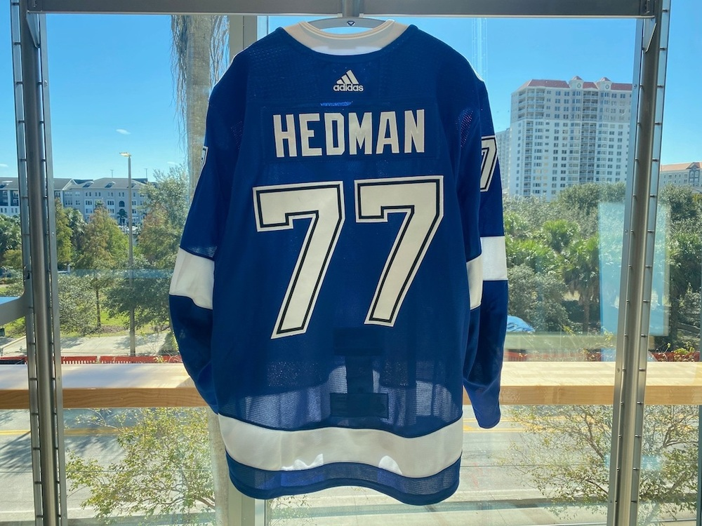 #77 Victor Hedman Tampa Bay Lightning 2020 Stanley Cup Final Game-Worn Jersey