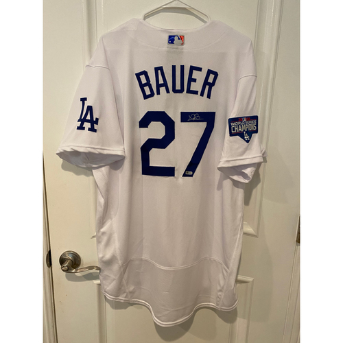 Photo of Trevor Bauer Autographed Authentic Los Angeles Dodgers Jersey