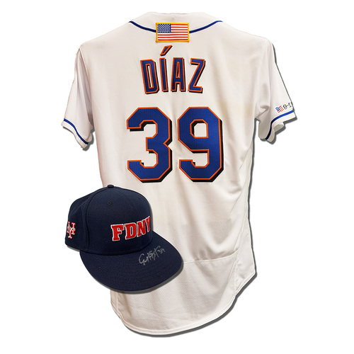 Photo of Edwin Diaz #39 - Autographed Game Used First Responder Hat and Game Used White Commemorative Jersey with American Flag Patch - Mets vs. Yankees - 9/11/2021
