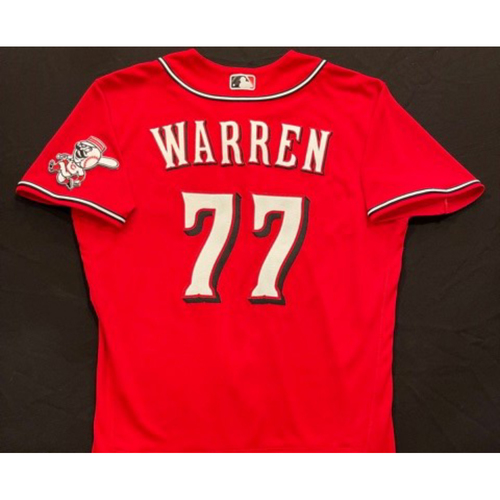 Photo of Art Warren -- 2021 Los Rojos Jersey -- Game Used from Sept 24 (Relief Pitcher: W-3, 1.0 IP, 0 H, 0 R, 2 K) -- Size: 46
