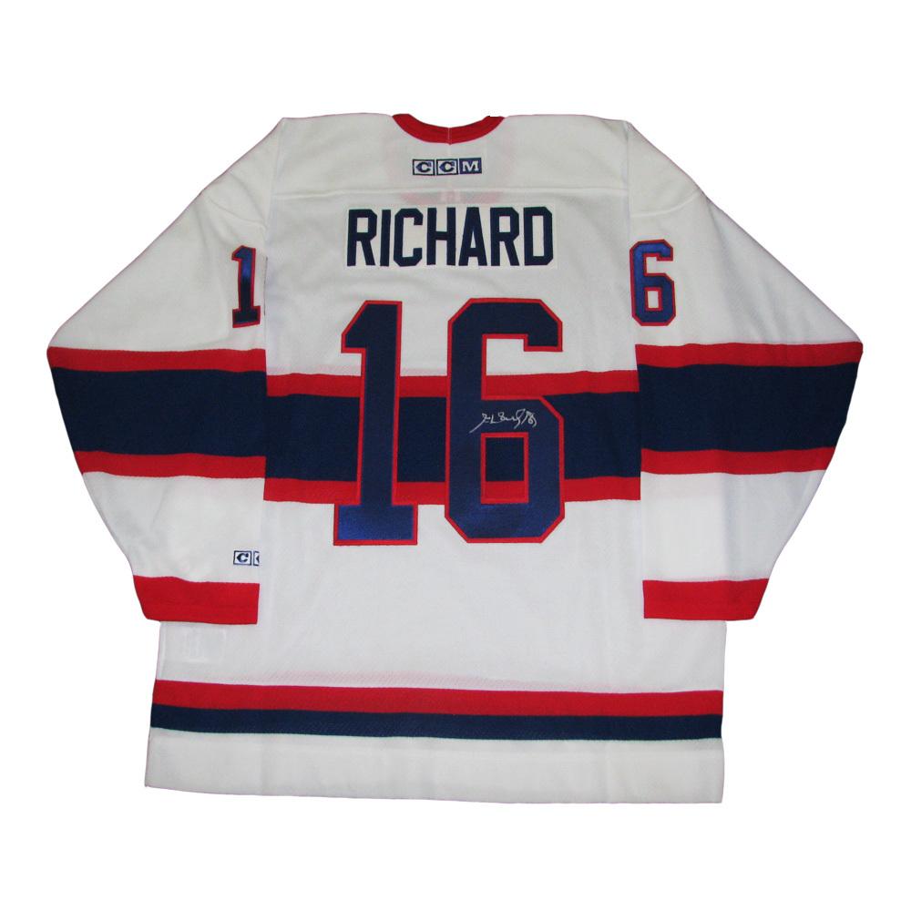 new style e30de 91dec HENRI RICHARD Signed Montreal Canadiens White CCM Vintage ...