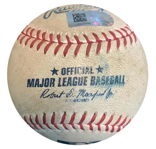 Photo of Game-Used Baseball from Pirates vs. Tigers on 4/25/18 (Game 1) - Francisco Cervelli 2 RBI Double