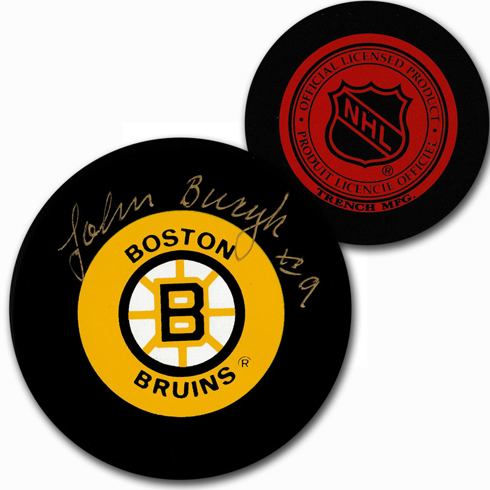Johnny Bucyk Autographed Boston Bruins Vintage Trench Puck